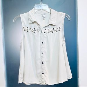 Forever 21 | Ivory ButtonDown Laced Accent TankTop